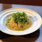 汐ダラとわさび菜のオイルパスタ〜ゆずこしょう風味〜